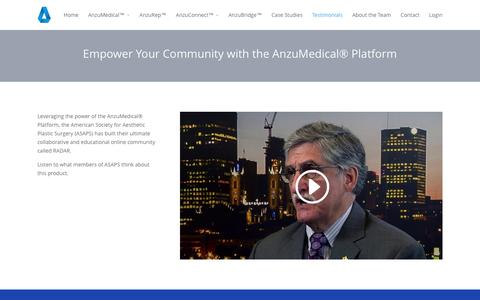 Screenshot of Testimonials Page anzumedical.com - Testimonials - What Medical Leadership is Saying About Anzu - captured Jan. 20, 2016