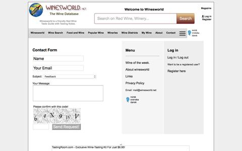 Screenshot of Contact Page Menu Page winesworld.net - Menu - Contact Us | Winesworld - captured Jan. 19, 2017