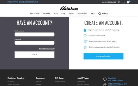 Screenshot of Login Page rainbowshops.com - Account Login | Rainbow - captured Jan. 29, 2016