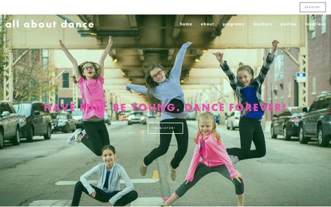 Screenshot of Home Page allaboutdance.org - All About Dance - captured Oct. 2, 2018