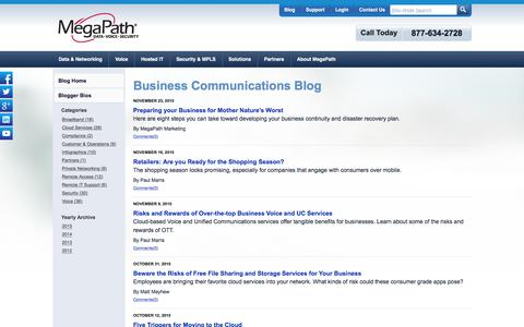 Screenshot of Blog megapath.com - Business Communications Blog | Broadband, Voice, Network Security & More-MegaPath - captured Dec. 3, 2015