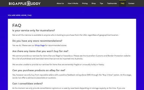 Screenshot of FAQ Page bigapplebuddy.com - FAQ - Big Apple Buddy - captured Sept. 30, 2014