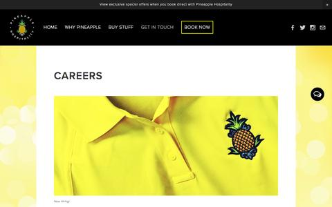 Screenshot of Jobs Page staypineapple.com - Careers — Pineapple Hospitality - captured Jan. 28, 2016
