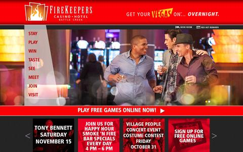 Screenshot of Home Page firekeeperscasino.com - Home  | FireKeepers Casino Hotel - captured Oct. 6, 2014