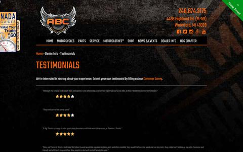 Screenshot of Testimonials Page abcharleydavidson.com - ABC Harley-Davidson, your Dealership in Metro-Detroit for new Harley-Davidsons, Used Harley-Davidsons, Apparel, Service, and parts and accessories. - captured July 28, 2018
