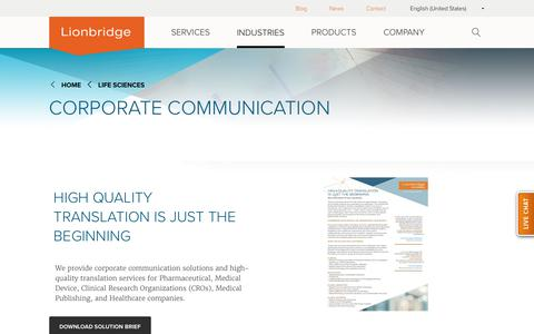Lionbridge Life Sciences Corporate Communication Services