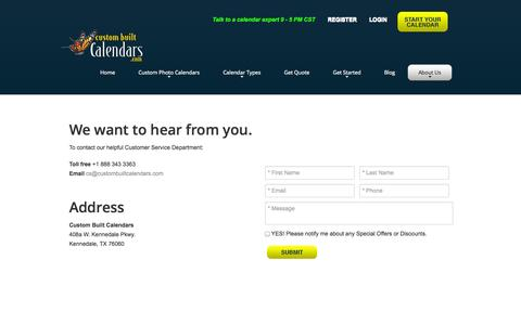 Screenshot of Contact Page custombuiltcalendars.com - Contact Us | Custom Built Calendars - captured Sept. 30, 2014