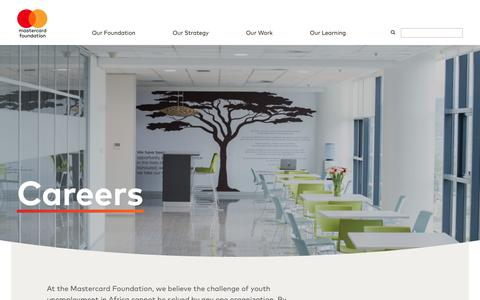 Screenshot of Jobs Page mastercardfdn.org - Careers -           Mastercard Foundation - captured Oct. 18, 2018