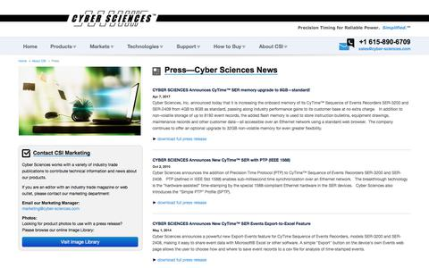 Screenshot of Press Page cyber-sciences.com - Press | Cyber Sciences - captured July 6, 2017