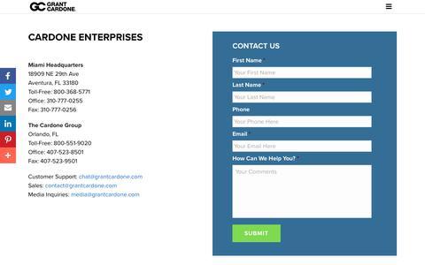 Screenshot of Support Page grantcardone.com - Customer Support - Grant Cardone - captured July 27, 2018