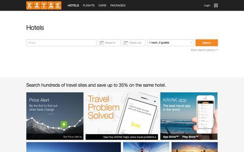 Screenshot of Home Page kayak.com - Find Hotel Deals and Discounts   KAYAK - captured Sept. 30, 2015