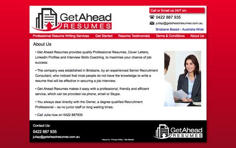 Screenshot of About Page getaheadresumes.com.au - About Us - captured Sept. 29, 2014