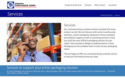 Screenshot of Services Page crownpack.com - Services | Crown Packaging - captured Aug. 31, 2017