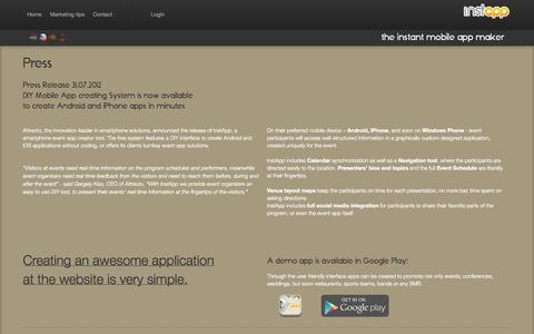 Screenshot of Press Page instappbuilder.com - Press - InstApp--the instant app building website - captured Sept. 19, 2014