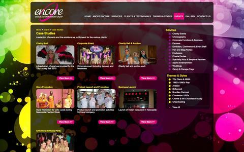 Screenshot of Case Studies Page encoredanceentertainment.co.uk - Encore Dance Entertainment | Case Studies | - captured Oct. 3, 2014