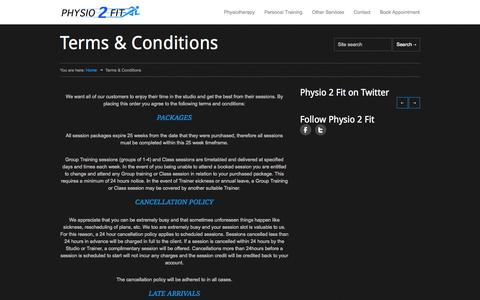 Screenshot of Terms Page physio2fit.net - Physio2fit | Terms & Conditions - Physio2fit - captured Sept. 29, 2014