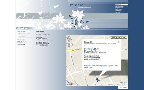 Screenshot of Contact Page interact.lu - Interact - Agence de référence en matière de conseils en communication NTIC au Luxembourg - captured Sept. 30, 2014