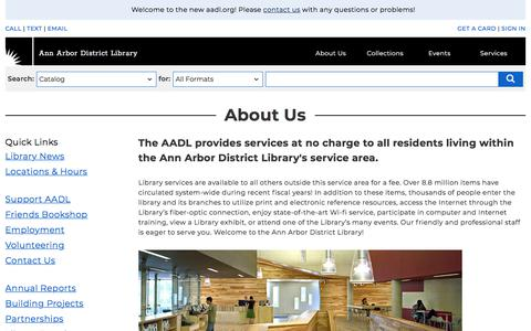 Screenshot of About Page aadl.org - About Us   Ann Arbor District Library - captured Jan. 16, 2018