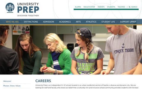 Screenshot of Jobs Page universityprep.org - Careers - University Prep - captured Aug. 12, 2016