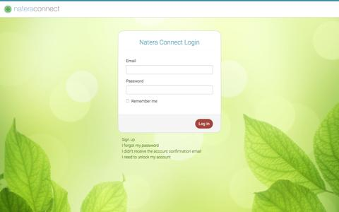 Screenshot of Login Page natera.com - Natera Connect - captured Nov. 23, 2015