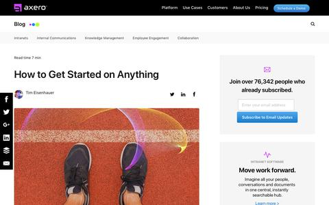 Screenshot of Blog axerosolutions.com - How to Get Started on Anything - captured Dec. 10, 2019
