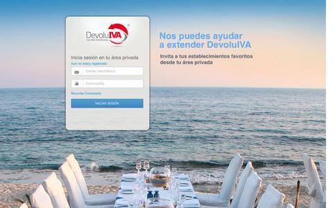 Screenshot of Login Page devoluiva.com - Bienvenido a DevoluIVA - captured Jan. 7, 2016