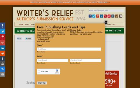 Screenshot of Pricing Page writersrelief.com - Pricing - Writer's Relief, Inc. - captured March 27, 2018