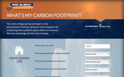 Screenshot of Landing Page c2es.org - Carbon Footprint Calculator Powered by Make an Impact - captured Oct. 27, 2014