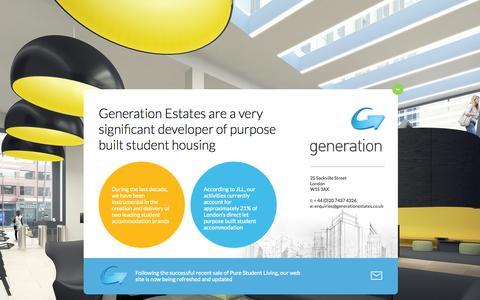 Screenshot of Home Page generationestates.co.uk - Generation Estates - captured July 20, 2015