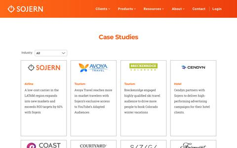 Screenshot of Case Studies Page sojern.com - Case Studies | Sojern - captured Oct. 19, 2018