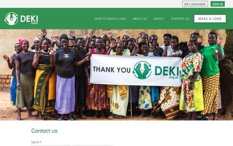 Screenshot of Contact Page deki.org.uk - Contact | Deki - captured Nov. 6, 2018