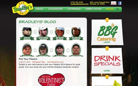 Screenshot of Blog bradleysbarandgrill.com - Bradleys' Blog | Bradley's Bar & Grill - captured Oct. 5, 2014