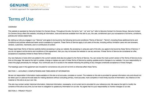 Screenshot of Terms Page genuinecontact.net - Terms of Use & Privacy Policy | Genuine Contact Co-Owners Group - captured Oct. 21, 2018
