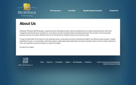 Screenshot of About Page cbsbrokerage.net - About Us | CBS Brokerage - captured Oct. 1, 2014