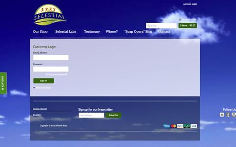 Screenshot of Login Page selestialsoap.com - Account - Selestial Soap - captured Sept. 30, 2014