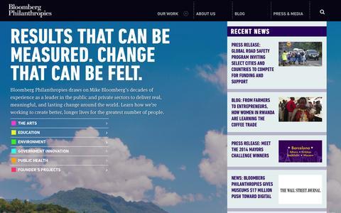 Screenshot of Home Page bloomberg.org - Homepage - Bloomberg Philanthropies - captured Oct. 5, 2014