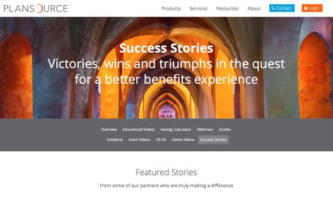 Screenshot of Testimonials Page wpengine.com - Stories of Success | PlanSource Case Studies & Testominials - captured Sept. 9, 2019