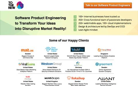 Screenshot of Landing Page tothenew.com - Software Product  Development and Engineering - TO THE NEW - captured Nov. 3, 2016