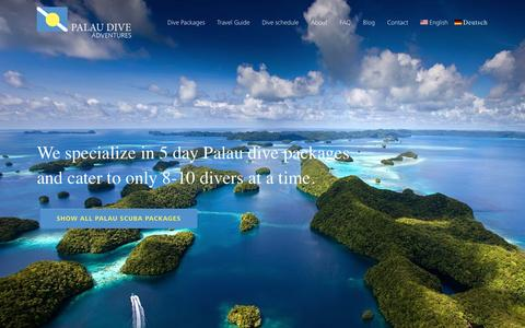 Screenshot of Home Page palaudiveadventures.com - We Offer 1 Week Palau Dive packages - captured May 13, 2017