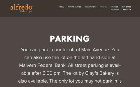 Screenshot of Press Page alfredobyo.com - Parking — Alfredo Italian BYO - captured Oct. 4, 2018