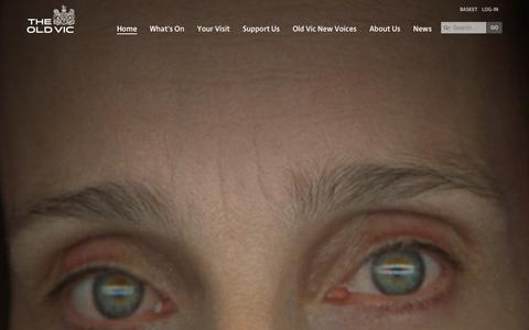Screenshot of Home Page Menu Page oldvictheatre.com - Home - The Old Vic - captured Sept. 25, 2014