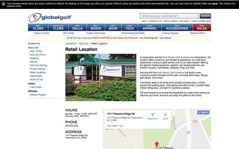 Screenshot of Locations Page globalgolf.com - Retail Locations - GlobalGolf - captured Nov. 9, 2016