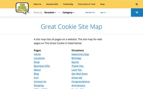Screenshot of Site Map Page thegreatcookie.com - Great Cookie Site Map – The Great Cookie - captured Oct. 22, 2017