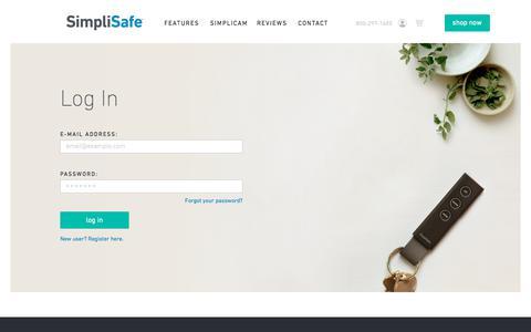 Screenshot of Login Page simplisafe.com - Log In - captured Sept. 28, 2019