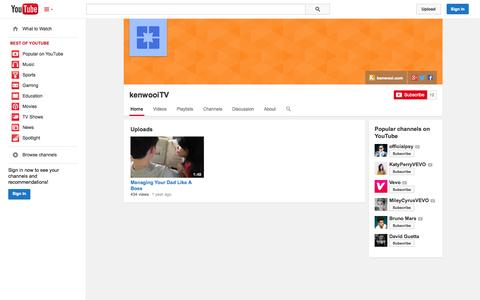 Screenshot of YouTube Page youtube.com - kenwooiTV  - YouTube - captured Oct. 27, 2014