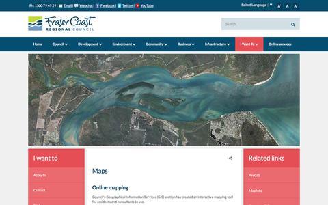 Screenshot of Maps & Directions Page frasercoast.qld.gov.au - Maps - Fraser Coast Regional Council - captured Feb. 10, 2016