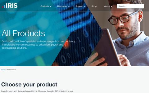 Screenshot of Products Page iris.co.uk - All Products | IRIS Software & Solutions for mission-critical business tasks - captured July 19, 2019