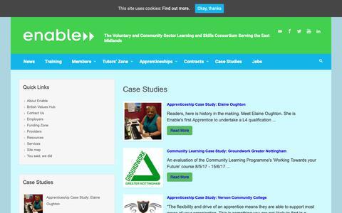 Screenshot of Case Studies Page enable.uk.net - Case Studies – Enable - captured Sept. 28, 2018