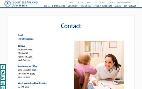 Screenshot of Contact Page frontier.edu - Contact Frontier Nursing University | Frontier Nursing University - captured Sept. 23, 2018