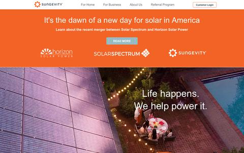 Screenshot of Home Page sungevity.com - Solar Solutions, Choosing Sungevity Solar Company - Sungevity - captured May 18, 2019